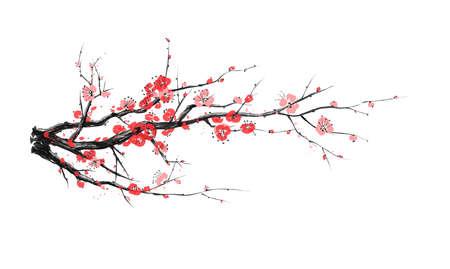Realistic sakura blossom - Japanese cherry tree isolated on white background - Vector illustration Vetores