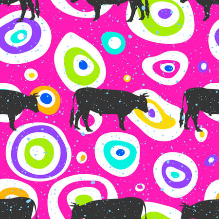 Pop art seamless pattern geometric modern with colorful acid and bull silhouette seamless pattern layout with circle spots. Illustration with set of colorful abstract circles. Vector illustration