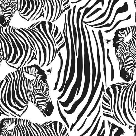 Contemporary zebra seamless patter. Black and White Fabric Pattern Design. Vector illustration of seamless zebra pattern