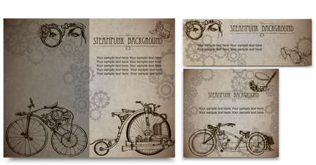 Steampunk style frame steampunk background. Set of vintage cards for business.Business Card Design. ベクターイラストレーション