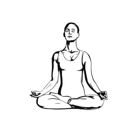 Young woman in yoga pose lotus, hand drawn vector in line art of black. Yoga illustration vector