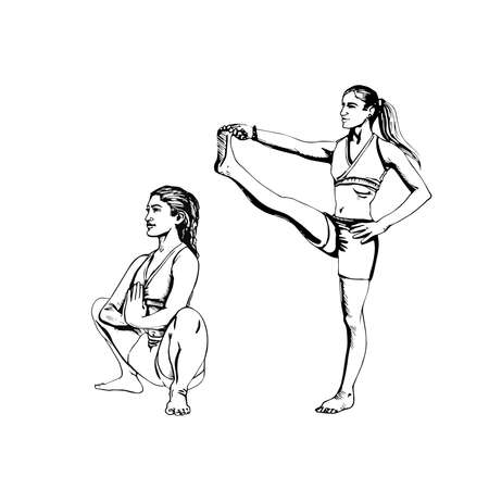 Set from young womans in yoga pose malasana and utthita hasta padangushthasana, hand drawn vector in line art of black. Yoga illustration vector
