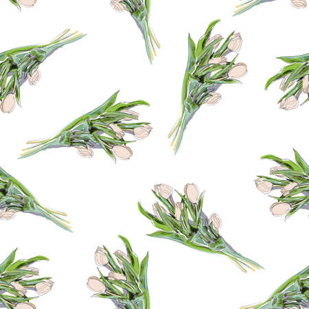 Hand-drawn seamless pattern with white tulips on white background. Isolated realistic bouquet, vector illustration