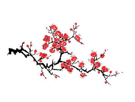 Decorative sakura blossom - Japanese cherry tree isolated on white background. Artistic branch sakura blossom. Vector illustration Vetores