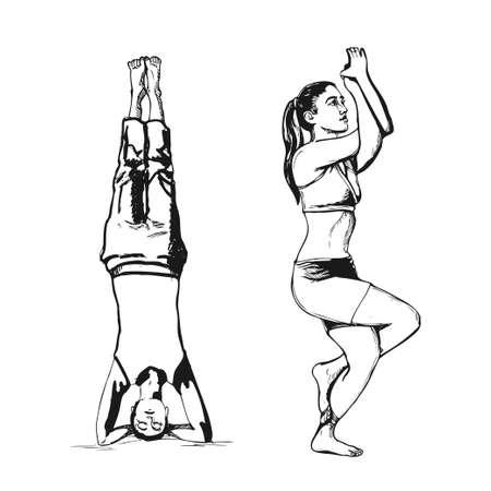 Young woman set in pose yoga shirshasana and garudasana, hand drawn sketch. Yoga vector illustration. Vector