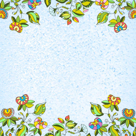 Hand painted greeting card with folk ethnic flowers. Spring or summer flowers for invitation, wedding or greeting cards. Vector Ilustração Vetorial
