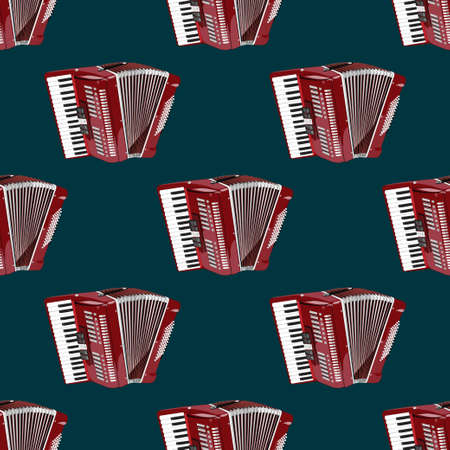 Musical instrument accordion on dark background is a seamless modern pattern. Vector