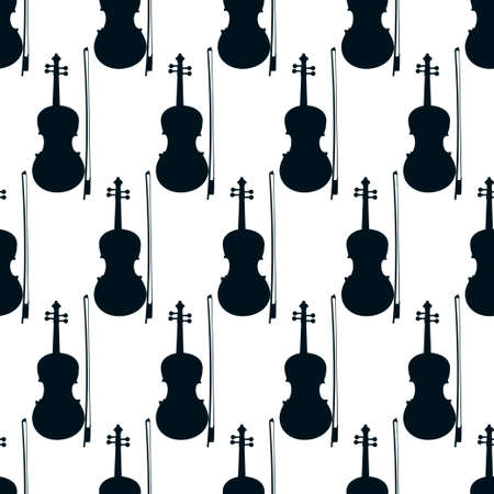 Seamless pattern of violins on white background, icon classical musical instruments, vector illustration