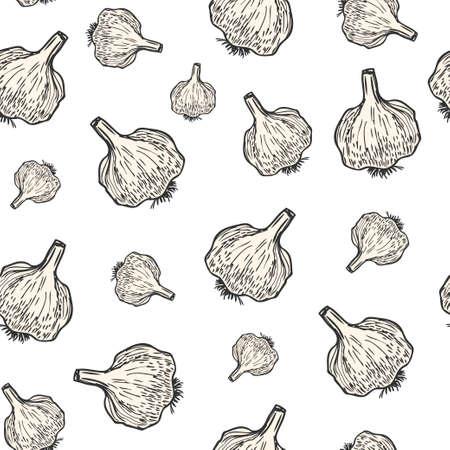 Garlic hand drawn background seamless pattern. Vintage background. Vector