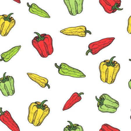 Pepper hand drawn background seamless pattern. Vintage background. Vector Vektoros illusztráció