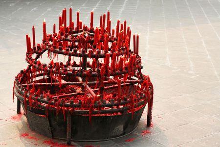 budha: Red Candles at Chinese Budha Temple