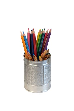 colorful pencils in a chinese made cup Stock Photo - 4721116