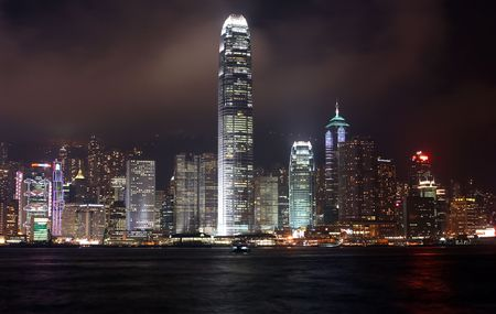 hong kong in the night from kowloon bay