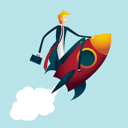 riding a rocket. bussiness concept Illustration