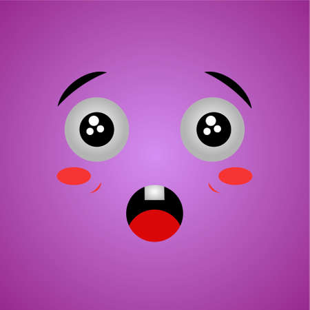 Cartoon face expression. Kawaii manga doodle character with mouth and eyes, surprised face emotion, comic avatar isolated on pink background. Emotion squared.