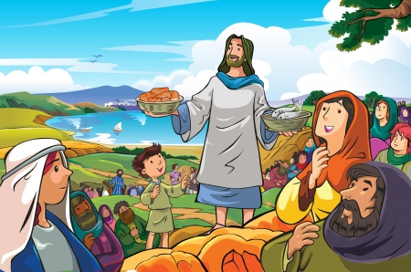 followers: jesus was distributing food to some of his followers Illustration