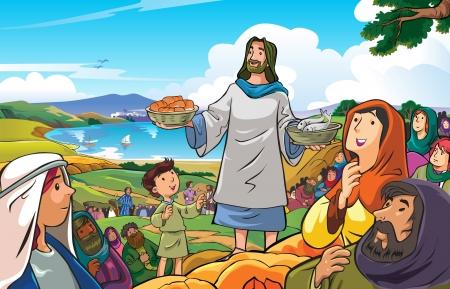 pez cristiano: Jes�s misericordioso y compasivo que fueron distribuyendo alimentos a su pueblo Vectores
