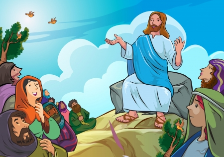 followers: Jesus was giving a talk to some of his followers Illustration
