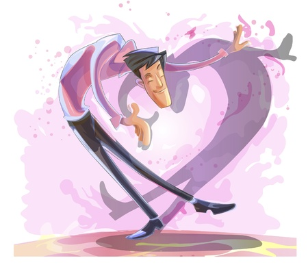 himself: illustration of a man who loves himself