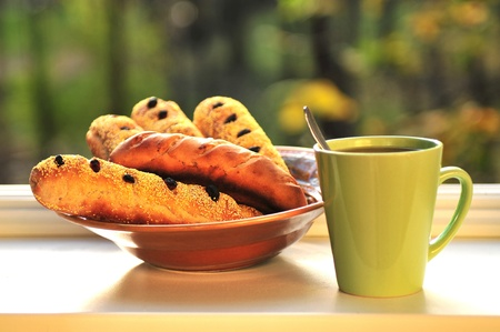 Tea bread with raisins and sesame photo