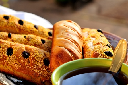 Tea bread with raisins and sesame photo