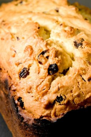 Texture of tasty fruitcake. Close-up photo