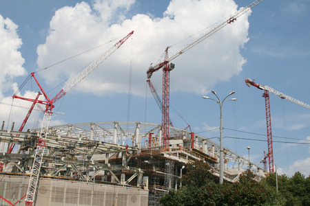 steelwork: Cranes at construction site