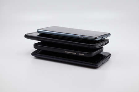 Lots of pile of cellphones