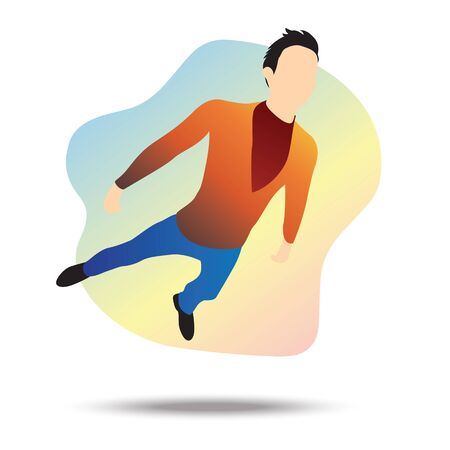 Flat vector illustration of a young businessman flying towards a goal, passing all obstacles. Ilustrace