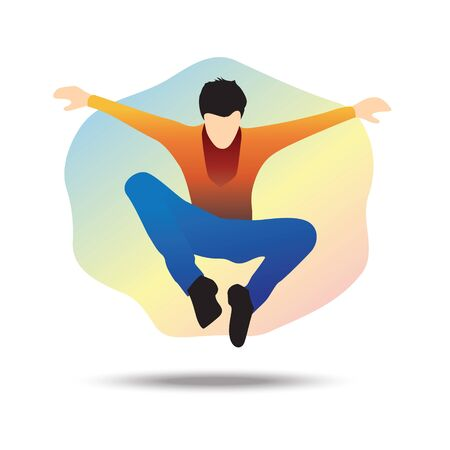 Flat vector illustration of a young businessman jumping towards a goal, jumping over all obstacles. Spiderman style
