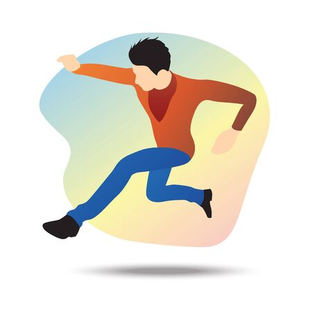 Flat vector illustration of a young businessman jumping towards a goal, jumping over all obstacles