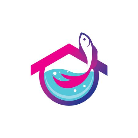 the concept of abstract fish house logos. For fish farming companies, aquarium makers etc.