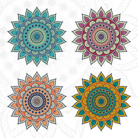 Round mandala background with various colour combinations. Design for any card, birthday, other holiday, kaleidoscope, yoga, india, folk, arabic. Indian pattern. Vettoriali