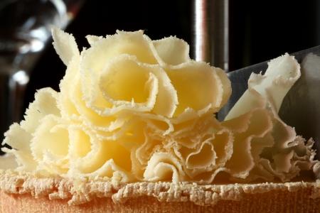Rosette Closeup of Swiss Cheese Tete de Moine