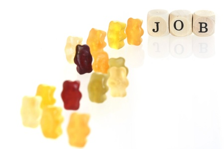 lining up: Gummy Bears - lining up for jobs  conceptual