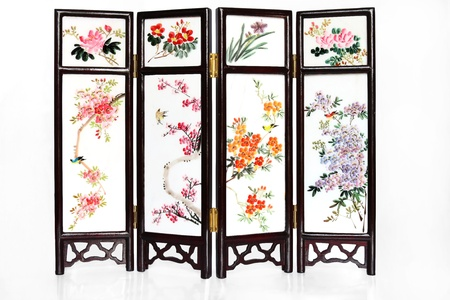flores chinas: Pantalla plegable Oriental con la reflexi�n