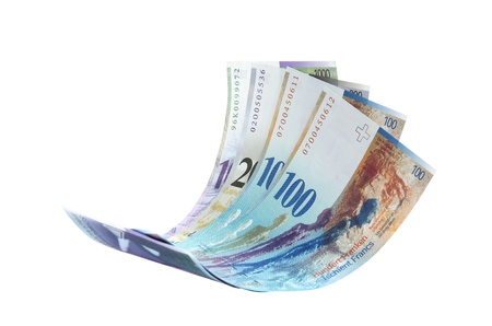 swiss franc note: Flying Swiss Franc note, isolated as element Stock Photo