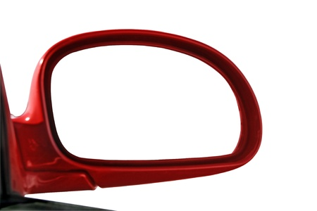 reflection in mirror: Rear view mirror isolated for creative montage Stock Photo
