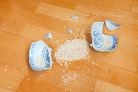 existence: Rice bowel is broken - symbol of destroyed minimum living existence