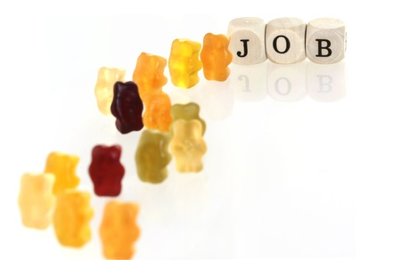 Gummy Bear series - lining up for jobs  conceptual  Stock Photo - 19166166