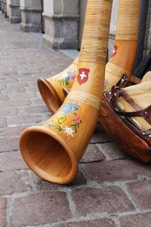 Schaffhausen, Switzerland: July 4, 2010: Alp horn, the Swiss traditional music instrument at the 7th Jodel festival Editorial