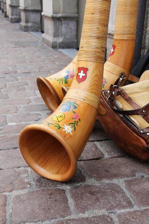alphorn: Schaffhausen, Switzerland: July 4, 2010: Alp horn, the Swiss traditional music instrument at the 7th Jodel festival Editorial
