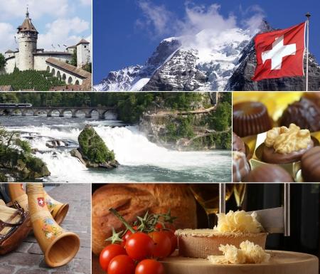 alphorn: Switzerland Landmark Collage