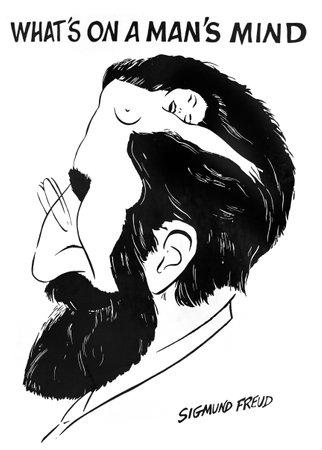 """analog�a: Viena, Austria, alrededor del a�o 1974: cartel de una caricatura an�nima de Sigmund Freud """"�Qu�"""