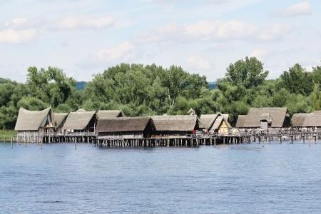 prehistoria: Prehistoria Lake Viviendas Unteruhldingen en el lago de Constanza, Alemania