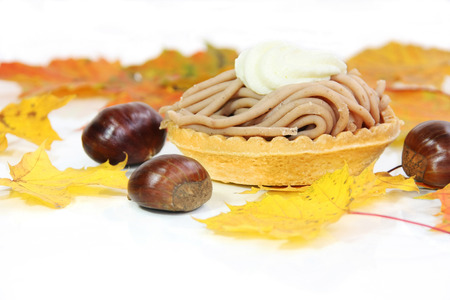 Swiss pastry - Vermicelles Cake - made of sweet chestnut puree Stock Photo