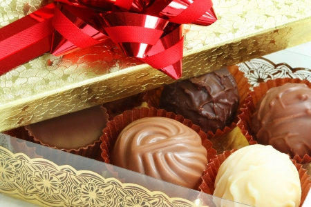 Close-up of a box of assorted chocolates photo