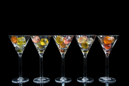 gelatine: Cocktail glasses with colorful fruit gelatine