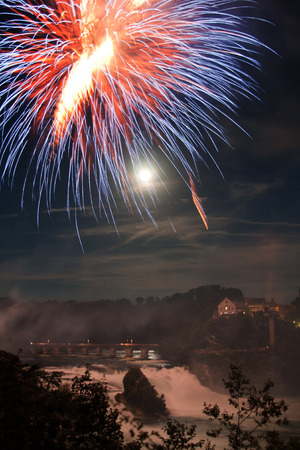 Rhinefall with the firework on the Swiss National Day