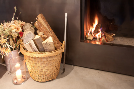 Fireplace at home Stock Photo